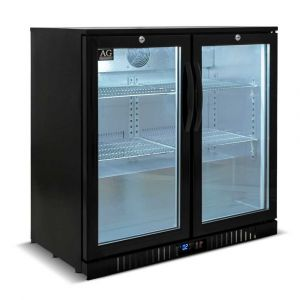 Twin Door Bar Fridge - Black Body & Doors