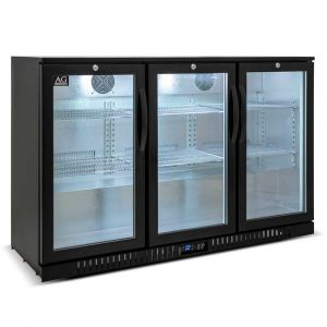 Three Door Bar Fridge - Black Body & Doors