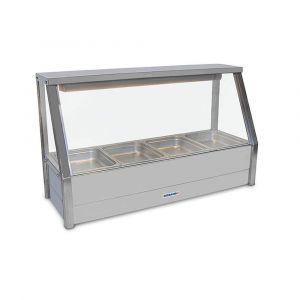 Roband Straight Glass Hot Food Display Bar, 4 pans single row with roller doors