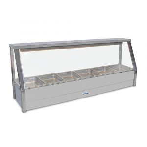 Roband Straight Glass Hot Food Display Bar, 6 pans single row with roller doors