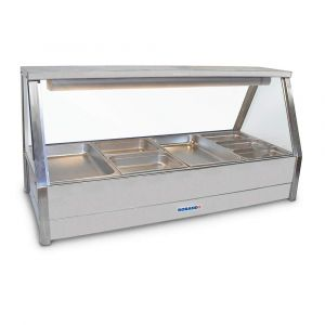 Roband Straight Glass Hot Food Display Bar, 8 pans double row with roller doors