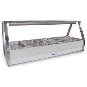 Roband Straight Glass Hot Food Display Bar, 10 pans double row with roller door