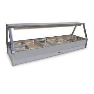 Roband Straight Glass Hot Food Display Bar, 12 pans double row with roller door