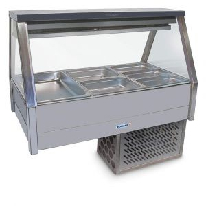 Roband Straight Glass Refrigerated Display Bar - Piped and Foamed only (no motor), 6 pans
