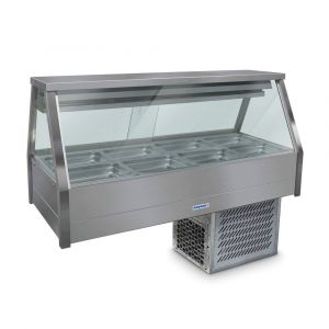 Roband Straight Glass Refrigerated Display Bar - Piped and Foamed only (no motor), 8 pans