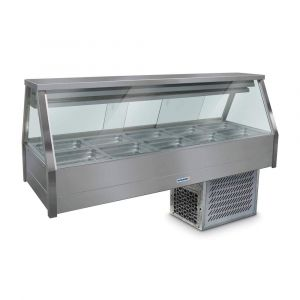 Roband Straight Glass Refrigerated Display Bar - Piped and Foamed only (no motor), 10 pans