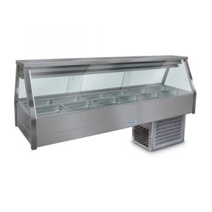 Roband Straight Glass Refrigerated Display Bar - Piped and Foamed only (no motor), 12 pans