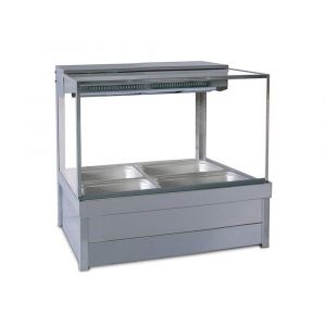Roband Square Glass Hot Food Display Bar, 4 pans double row with roller doors