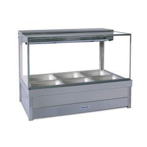 Roband Square Glass Hot Food Display Bar, 6 pans double row with roller doors