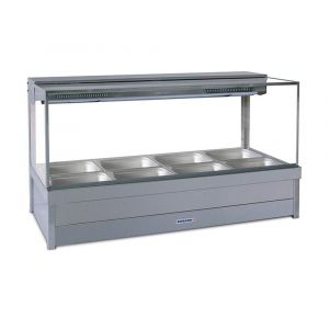 Roband Square Glass Hot Food Display Bar, 8 pans double row with roller doors