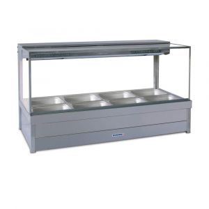 Roband Square Glass Hot Food Display Bar, 8 pans double row
