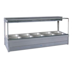 Roband Square Glass Hot Food Display Bar, 10 pans double row with roller doors