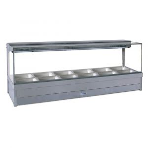 Roband Square Glass Hot Food Display Bar, 12 pans double row with roller doors
