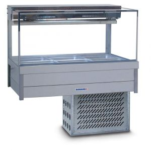 Roband Square Glass Refrigerated Display Bar - Piped and Foamed only (no motor), 6 pans