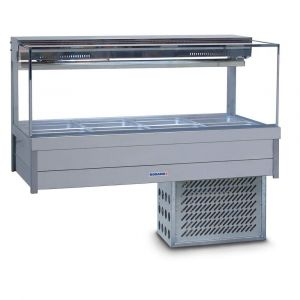 Roband Square Glass Refrigerated Display Bar - Piped and Foamed only (no motor), 8 pans