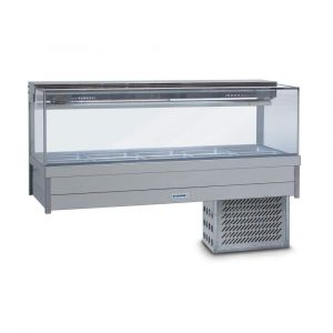 Roband Square Glass Refrigerated Display Bar - Piped and Foamed only (no motor), 12 pans