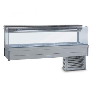Roband Square Glass Refrigerated Display Bar, 12 pans