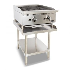 AG Equipment Two Burner Commercial Chargrill with lava rock - 610MM width - Natural Gas
