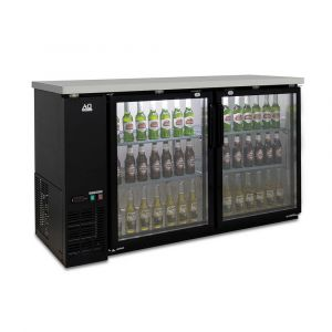 Two Door Commercial Glass Door Bar Fridge with Stainless Steel Counter