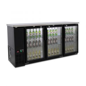 Three Door Commercial Glass Door Bar Fridge with Stainless Steel Counter