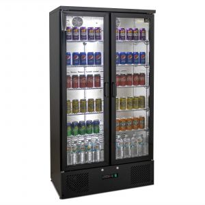 500L Upright Double Glass Door Display / Backbar Fridge - Black