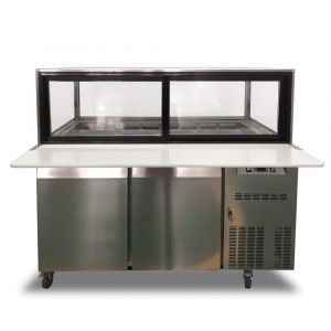 2 Door Saladette Fridge with Glass Top – Fits 12 x 1/3 GN Trays