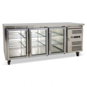 Three Door Commercial Glass Door Worktop / Under Bench Display Fridge 700mm Depth