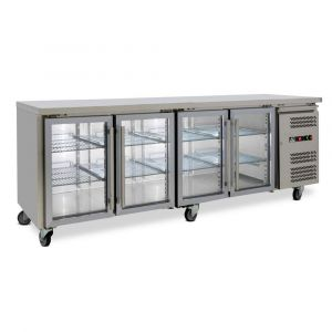 Four Door Commercial Glass Door Worktop / Under Bench Display Fridge 700mm Depth