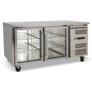 Two Door Commercial Glass Door Worktop / Under Bench Display Fridge 800mm Depth