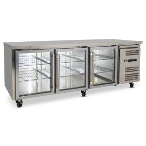 Three Door Commercial Glass Door Worktop / Under Bench Display Fridge 800mm Depth